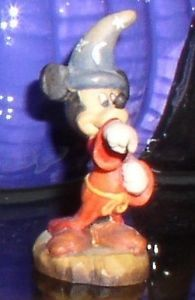 Disney Miickey Mouse miniature Sorcerer Anri  Woodcarving made in Italy 1 1/4""