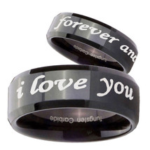 His Hers I Love You Forever and ever Beveled Black Tungsten Rings Set - $79.98