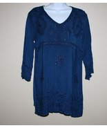 Embroidered Blue Tunic Top 3/4 Sleeves Boho Hippie M/L NWOT - $16.00