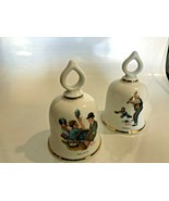 2 1979 Germany Norman Rockwell Collectible Bells batterup,&  baby sitter... - $25.09