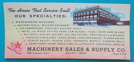 DALLAS Texas Machinery Sales & Supply Co Saws Tools Motors - 1930s INK B... - $7.40