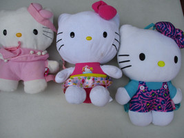 Hello Kitty Plush Doll Stuffed Animal Cat Lot Lil Girl Pink Straps Super... - $49.71