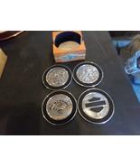 HARLEY DAVIDSON 100TH ANNIVERSARY SILVER METAL COASTER SET OF 4 WITH WOOD BOX - $24.70
