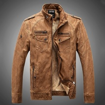Hot ! High Quality New Winter Fashion Men's Coat Leather Jacket (male coat color image 10