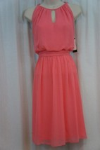 Adrianna Papell Dress Sz 6 Coral Pink Chiffon Halter Drape Cocktail Party Dress  - $79.17