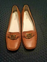 Michael Kors Leather Logo Driving Mocs Size 9.5 M Brown Calf Leather EUC - $37.04