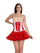 Red & White PVC Leather Gothic Steampunk Waist Training Underbust Corset Top - $69.29+