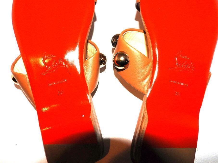 6e3570f016df Christian Louboutin Simple Bille Ornament Slide Sandal Dome Studs Shoes 36