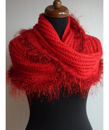 Loop scarf, Red Knit Scarf, Chunky Scarf, Hand Knit Infinity Scarf, Circ... - $49.00