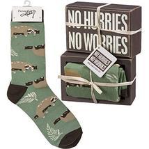 Primitives by Kathy Decorative Box Sign & Pair of Socks Gift Set - Sloth No Hurr - $16.95