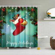 christmas red polyester bath curtain santa claus 3d printed waterproof shower curtains thumb200