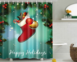 Stmas red polyester bath curtain santa claus 3d printed waterproof shower curtains thumb155 crop