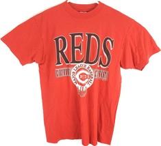VTG Cincinnati Reds Men's Red Baseball MLB Single Stitch Spell Out T-Shi... - $27.23