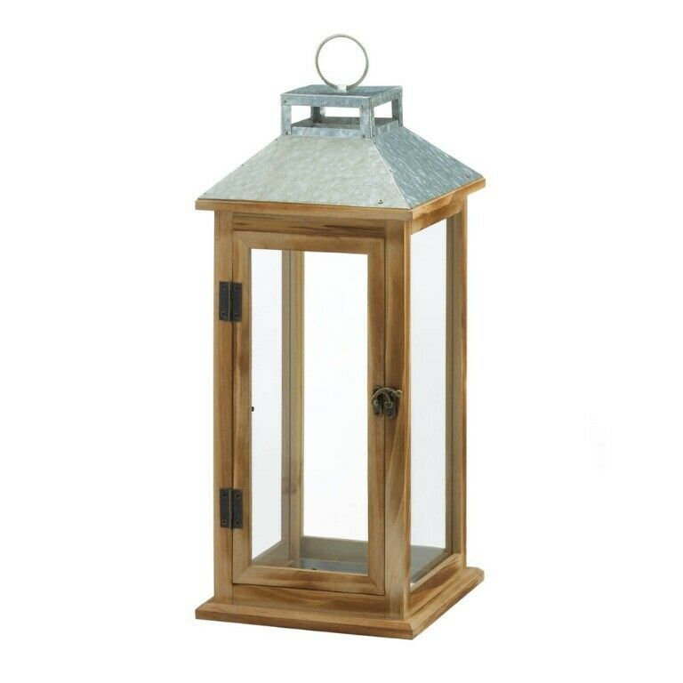 Lot of 4 Wooden Candle Lantern w/ Galvanized Metal Pitched Roof Top, Glass Panes