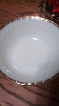 "Vintage  Fire King White Swirl with gold trim 8"" by 3 "" Serving Bowl - $10.75"