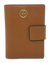 Tory Burch Robinson Snap Passport Holder in Saffiano Leather - Tiger's Eye Brown