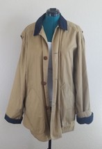 Men's J Crew Coat Tan Trench Large Corduroy Collar and Cuffs Long Jacket - $42.57