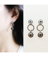 Three Round Circle Made With Swarovski Stone Dangle Earrings 925 Silver ... - $23.36