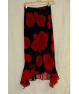 Oo La La Vintage Sheer Overlay Red Rose Sparkle Black Dance Skirt Sz. 3 - $10.00