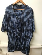 Calvin Klein Jeans Blue Striped Tie Dye Ruched Front Beaded V Neck Size S - $15.95