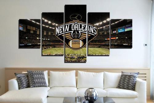 Framed 5 Piece New Orleans Saints Stadium Canvas Art Wall