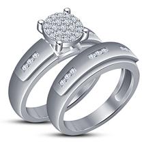 Bridal Engagement Ring Set 14k White Gold Over 925 Silver Round Cut Sim Diamond - $86.99