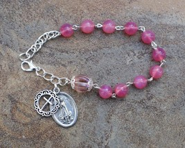 Silver - Our Lady of Fatima - 8mm Pink Opal Gemstone One Decade Catholic... - $14.95