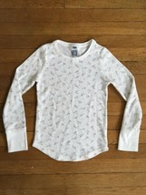 * old navy white floral waffle knit long sleeve tee shirt medium 8 girls - $4.51