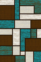 PREMIUM 3D Hand Carved Modern 5x8 5x7 Rug Contemporary 3995 Brown Turquoise - $119.00
