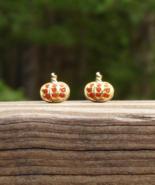 Vintage Pumpkin Post Earrings w Orange Crystals - $25.00