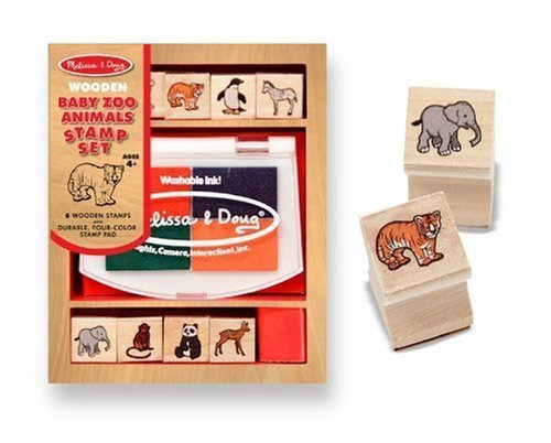 Melissa & Doug Baby Zoo Animals Themed Wooden Stamp Set & 1 Scratch Art Mini-Pad - $8.76
