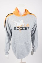 Adidas Youth Kids Hoodie Sweatshirt Soccer Gray Size 13-14 XL Unisex Yellow - $19.79