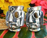 Vintage swank cufflinks tribal mayan aztec warrior mask face figural thumb155 crop
