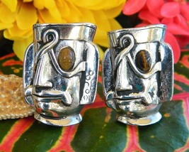 Vintage Swank Cufflinks Tribal Mayan Aztec Warrior Mask Face Figural - $74.95