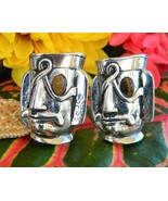 Vintage swank cufflinks tribal mayan aztec warrior mask face figural thumbtall