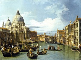 The Entrance to the Grand Canal Venice 1730 by Canaletto Old Master Canvas 24x32 - $222.75