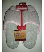 New Dearfoams Women's Memory Foams House Slide Slippers Gray/Pink X-Larg... - $25.73