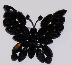 "Black Glass Butterfly Mourning Brooch 2"" X 2"" - $11.46"