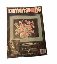 Dimensions 3955 NO Count Cross Stitch Blossoms on Black New Kit Floral VTG 1991 - $29.69