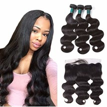 Brazilian Body Wave Hair Bundles with Frontal 14 16 18+12 Frontal Ear to... - $71.45