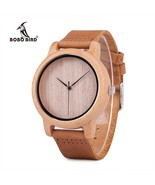 BOBO BIRD® Mens Casual Plain Wood Dial Bamboo Quartz-watch With Leather ... - $27.10