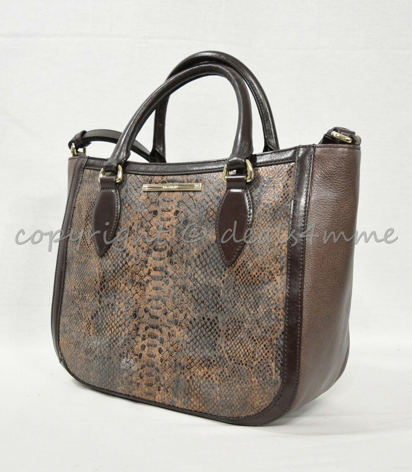 NWT Brahmin Small Lena Leather Satchel/Shoulder Bag in Brown Barrow