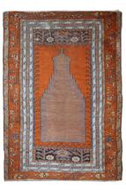 Hand made antique Turkish Anatolian rug 3.3' x 4.6' (100cm x 141cm) 1940... - $1,320.00