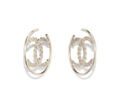 AUTH Chanel 2019 RUNWAY XL LRGE CC Logo CRYSTAL Hoop Earrings GOLD - $599.99