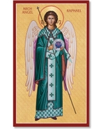 """Archangel Raphael Icon 9.1"""" x 14"""" Wooden Plaque With Lumina Gold - $81.95"""