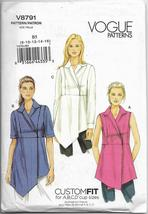 Vogue 8791 Women Misses Top and Tunic, Easy Sew, Sizes 8 10 12 14 16, Or... - $22.00