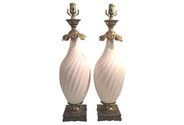 Hollywood Regency Ivory Swirled Ceramic Table Lamps-A Pair - $1,469.00
