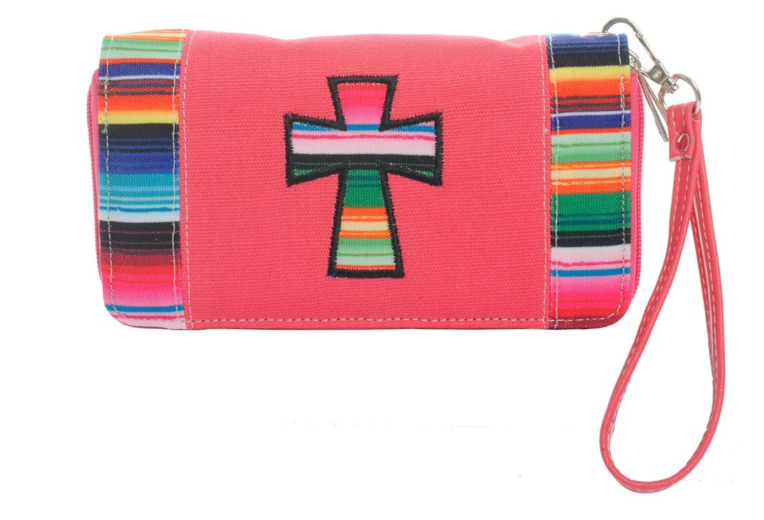 Striped Cross Wallet Wristlet Clutch Purse (Coral)