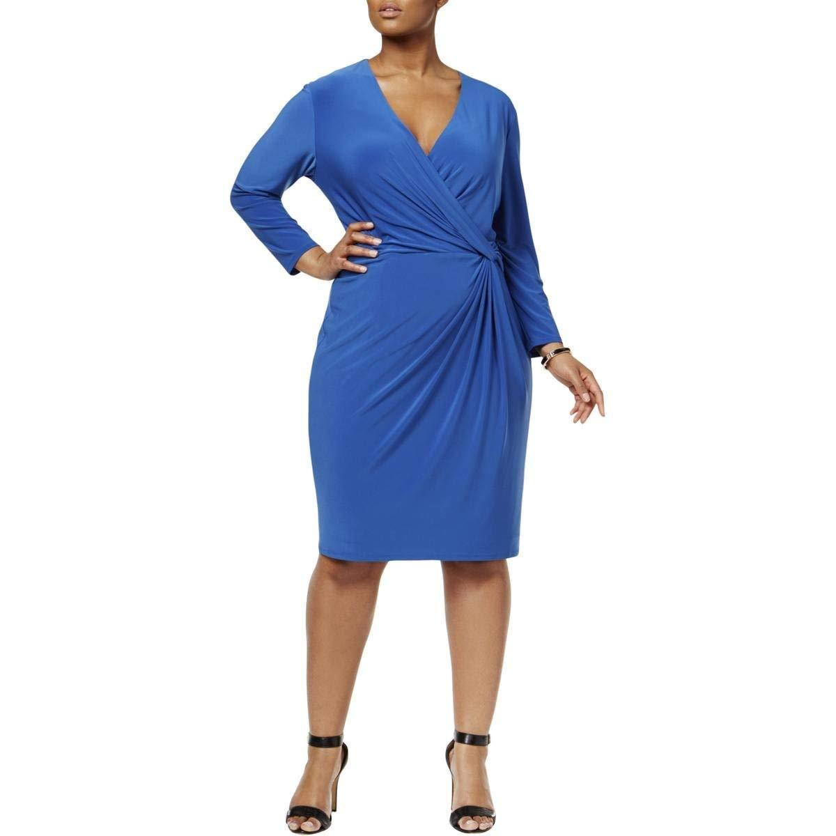 Primary image for Anne Klein Womens Plus Knot Front Faux Wrap Wear to Work Dress Blue 3X, 2428-3