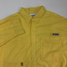 Columbia PFG Fishing Shirt Mens XL Yellow Long Sleeve mesh Lined Vented Pockets - $24.95